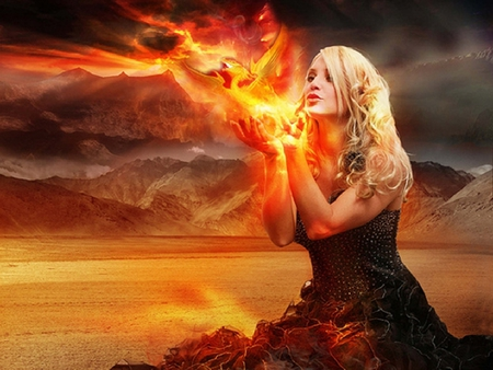 Rise Of The Phoenix - abstract, art, flames, female, girl, phoenix, woman, 3d, fire, fantasy, cg