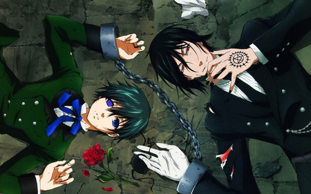 Sebastian & Ciel - michelis, black, butler, anime, contract, ciel, kuroshitsuji, sebastian, eternal