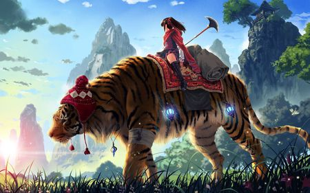 Old Battle Tiger  - cool, tiger, beautiful, trees, sky, anime, girl, nice, mountains