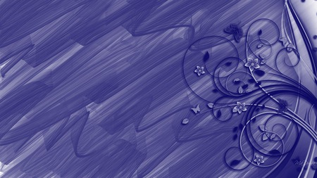 Abstraction in Blue - butterfly, flowers, brush, nature, navy, vines, firefox persona