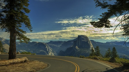 Road To Mountains - splendor, sunrise, beautiful, trees, road, sky, tree, view, landscape, clouds, sunset, lookout, half dome, nature, mountains, peaceful