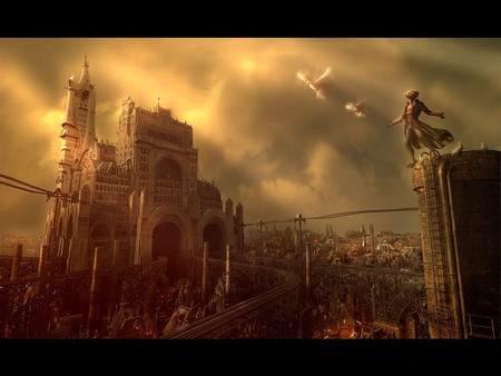 Steampunk Landscape - landscape, neosurrealimart, 3d and cg, george grie, graphics, its so cool, steampunk landscape, steampunk