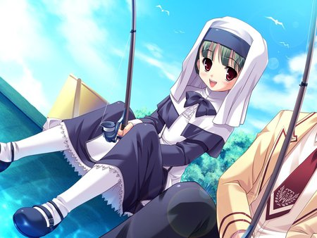 Girl fishing - girl, fishing, cute, anime, dress