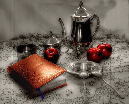 red apples book - still life, red, art, apples, book