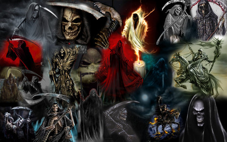 Grim Reapers - evil, skeleton, horror, skull, death, dark, weapon, scary, grim reaper