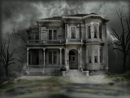 Haunted Victorian - evil, death, night, haunted house, storm, blood, house, scary, bloody