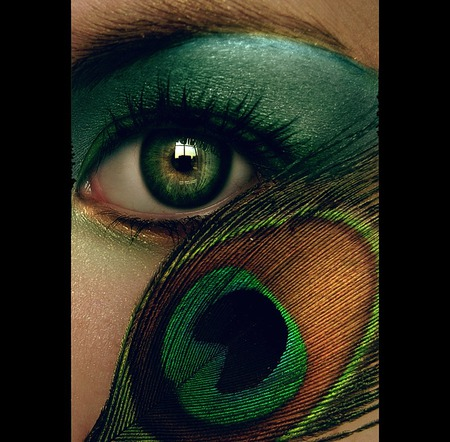 Peacock eye - art, 3d, eyes, abstract, green, lady