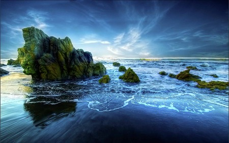 Peaceful Beach - rocks, wave, blue, sea, beauty, beach