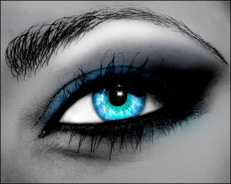 Blue Eye - cool, colour, beautiful, blue, sparkling, anime, eye lash, sensual, woman, eyes, diamond, eye