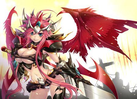 Demon Goddess - sexy, blade, wings, red, gauntlet, steel, angel, girl