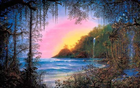 FANTASY ISLAND - sunset, waves, ocean, beach, jungle