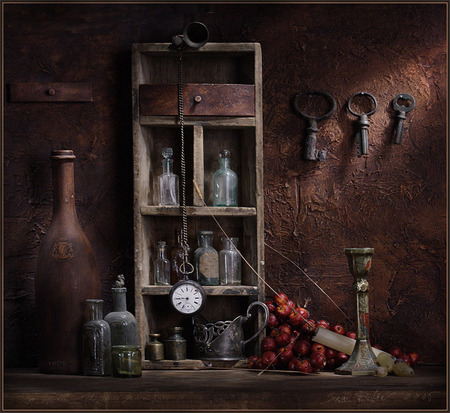 STILL LIFE - weights, stoneware bottles, red apples, pocket watch, candle, old small shelves, candlestick, old keys, old glass bottles, glass