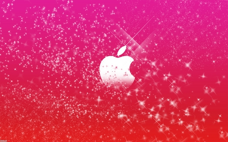 apple pink stars - shiney, pink, colors, stars, dark, mac, 3d, apple, system