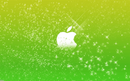 apple green stars - green, shiney, colors, silver, stars, dark, mac, technology, 3d, apple, system