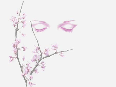Tranquility - flowers, people, paintings, pink, peace, abstract, art, digital