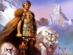 Great Warrior with wolves