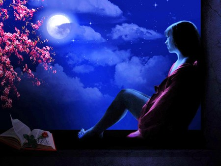 Lost in thoughts of you - rose, flowers, alone, woman, moon, night, thought
