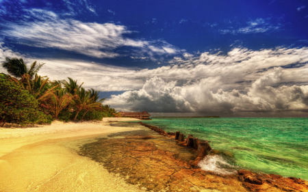 Beautiful... - clouds, blue, peaceful, nature, sand, hdr, trees, view, lovely, hut, white, water, paradise, colors, palms, holiday, beauty, summer, relax, tree, waves, tropical beach, colorful, sea, exotic, beautiful, green, beach, tropical, splendor, sky, ocean