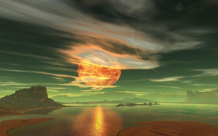 MOON ON FIRE - green, orange, sky, sand, water, clouds, moon, moon fire, mountains, planet, ocean