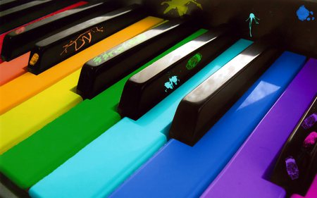The Art of Music - piano, keys, colors, art, music, rainbow, paint