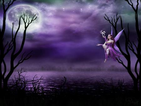 Celtic Fairy - purple, celtic, fairy, moonlight, tree