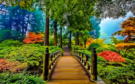Bridge Of Prosperity - green, garden, orange, trees, beauty, autumn, yellow, misty, landscape, rails, bridge, nature, bushes