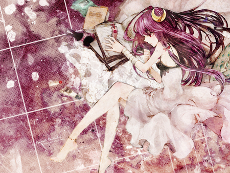 Lolico - patchouli knowledge, lolico, cute, long hair, pink eyes, duca, touhou, sexy, pink hair, anime, girl, book