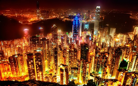 Amazing City Skyline - towers, city, skyscrapers, metro, metropolis, night time, lights, down town, skyline, town