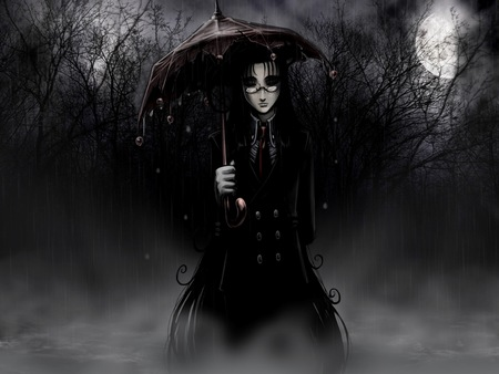 Tinkerbell-Umbrella - night, rain, girl, dark, creepy, woman, hellsing ultimate, fog, forest, fantasy, umbrella, spooky, trees, black, branches, tinkerbell, full moon, storm, moon, nature, glasses