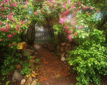 Garden pathway - flowers, greenery, sunlight, stones, path, wooden gate, mailbox