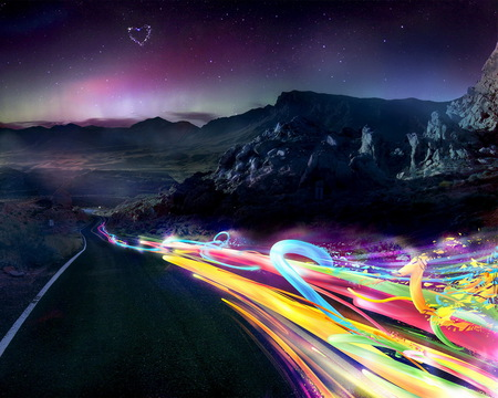 Chain of Colors - road, orange, universe, blue, abstract, rocks, planets, aurora borealis, yellow, gray, purple, peaks, moons, violet, fantasy, violeta, green, scarlat, carlet, sunrise, mounts, heart, dragon, escarlate, galaxies, animals, horizon, pink, path, stars, trail, sunset, photoshop, photo, mountains, red, stones, horse, colorful, black, colors, chain, photography, 3d and cg, nature, natural, asphalt