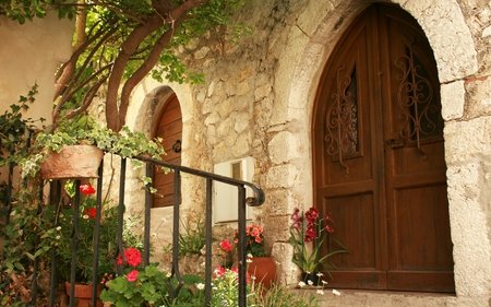 Eze Village - village, door, flowers