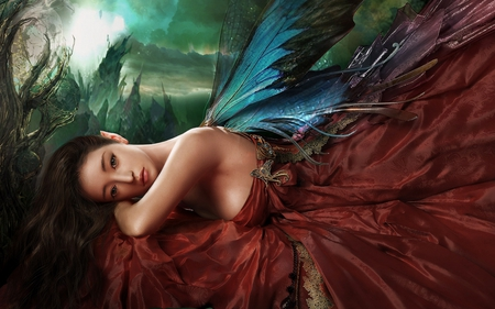 Beautiful Fairy - beautifui, cool, wings, girl abstract, fairy, picture, fantasy