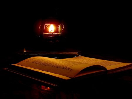 THE LIGHTED BOOK - lamp, dark, light, pages, opened book, book, night
