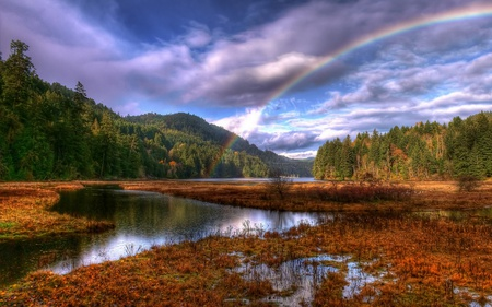 After The Rain - splendor, lake, beautiful, tree, view, beauty, autumn, rain, landscape, lago, natureza, mountains, forest, rainbow, woods, arco iris, trees, colorful, sky, colors, lovely, leaves, autumn colors, clouds, autumn leaves, nature, peaceful, montanhas