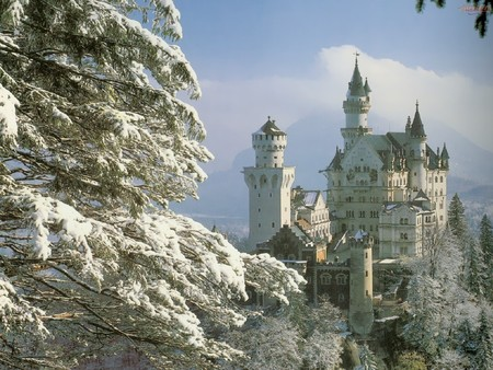 Neuschwanstein-Castle-Bavaria-Germany - snow, germany, nature, forest, castle, neuschwanstein