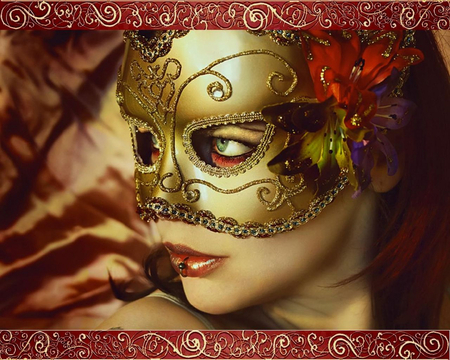 the golden mask - cool, people, green eyes, beautiful, mask, faces, masked, party, ring, flower, woman, design, gold, fantasy