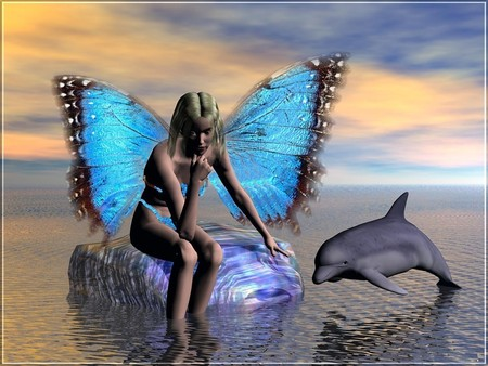 Fairy with dolphin fantasy abstract background - Free fairy wallpaper and screensavers ...