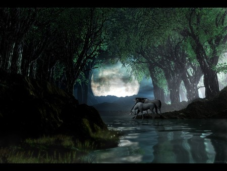 Unicorn Landscape - dak, unicornio, graphics, river, landscape, full moon, unicorn, its so cool, fantasy, midnight