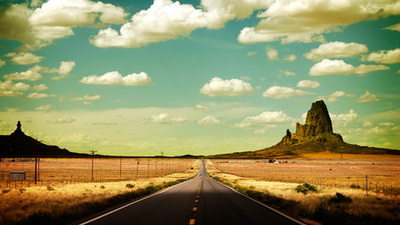 Road... - road, field, sky, drum, clouds, desert, nature, mountains, car