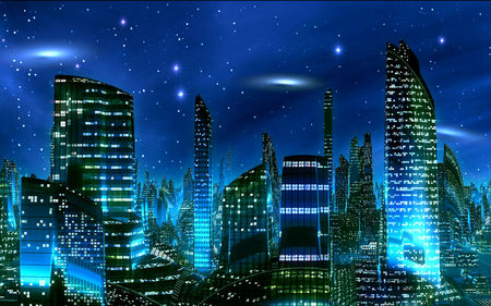electric city - lights, blue, city, night