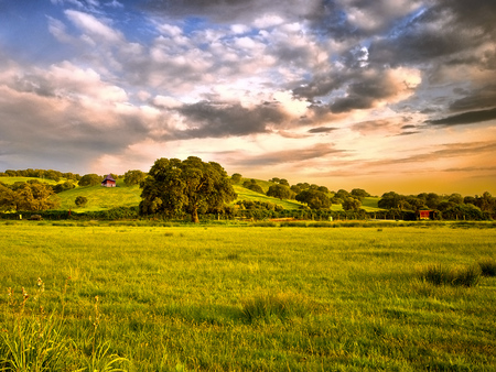 Serenity - frontier, colorful, hills, white, pink, amazing, natural, clear, orange, branches, awesome, calm, sky, sunlights, sunrises, scene, photoshop, cool, scenery, leaf, clouds, relaxing, house, hillside, scenario, leaves, grass, fields, grasslands, photography, serenity, sunsets, panorama, farm, serene, cenario, red, plants, landscape, blue, colors, nice, trees, nature, cena, beautiful, trunks, sundown, environment, green, fence, photo