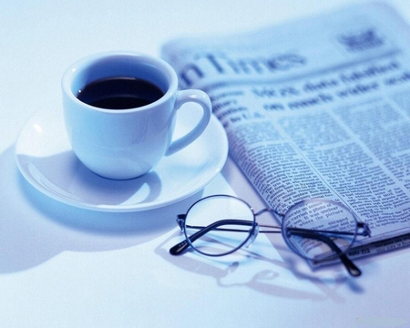 Good morning - newspaper, blue, coffe, abstract, photo, other, coffee cup, glasses, beautiful, white, fluid
