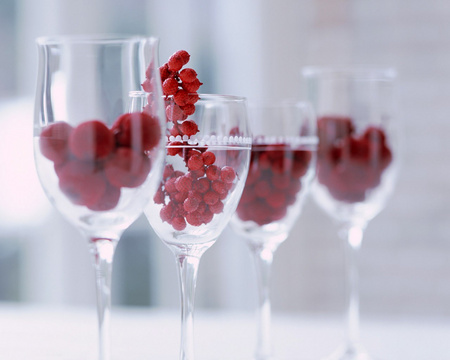 Glasses & Cherries - cherry, beautiful, cherries, glass, red, glasses, four