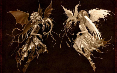 Sweet Dream Or A Beautiful Nightmare? - abstract, demon, fantasy, angel