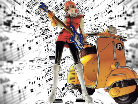 FLCL Haruko - guitar, scooter, haruko, fooly cooly, anime