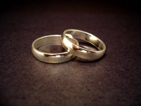 weeding rings - love, two rings, golden, black
