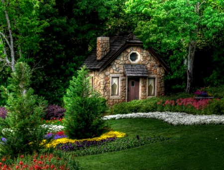 Fairytale Cottage - grass, stone, flowers, cottage, garden, fairytail, trees
