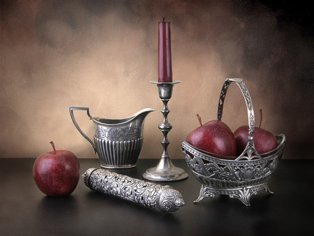 still life - silver, red, apples, still life, aristocratic, abstract, candles, burgundy