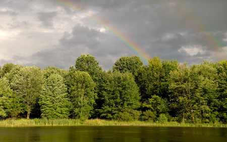 After The Rain - green, lake, beautiful, trees, sky, tree, rain, clouds, grass, nature, peaceful, rainbow